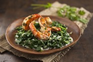 Wild-Caught Shrimp over Coconut Creamed Spinach (1)